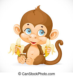 sprytny, małpa, odizolowany, tło, niemowlę, biały, banan