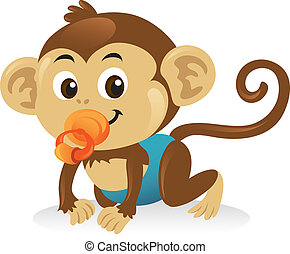 sprytny, małpa, pose., pełzając, pacyfikator, niemowlę