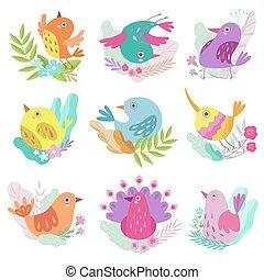 sprytny, mały, barwny, komplet, wiosna, ilustracja, symbolika, wektor, ptaszki