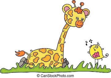 sprytny, mały, posiedzenie, żyrafa, śpiew ptaszek