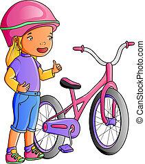 sprytny, mały, rower, dziewczyna, rysunek