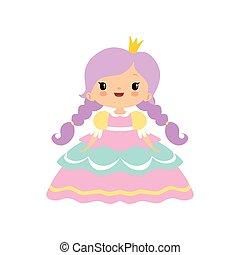 sprytny, mały, złoty, fairytale, korona, ilustracja, księżna, wektor, dziewczyna, rysunek