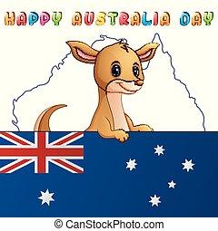 sprytny, mapa, kangur, za, bandera, tło, rysunek
