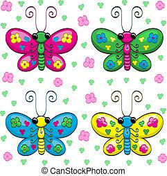 sprytny, motyle, rysunek