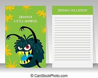 sprytny, notatnik, zielony potwór, szablon