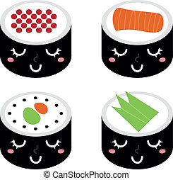 sprytny, odizolowany, sushi, komplet, rysunek, biały
