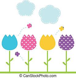 sprytny, ogród, wiosna, odizolowany, tulipany, biały