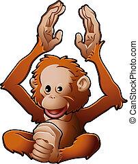 sprytny, orangutan, ilustracja, wektor