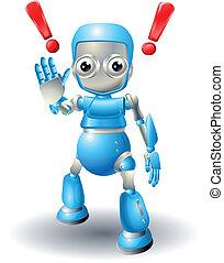 sprytny, ostrożność, robot, litera