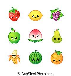 sprytny, owoce, ikony