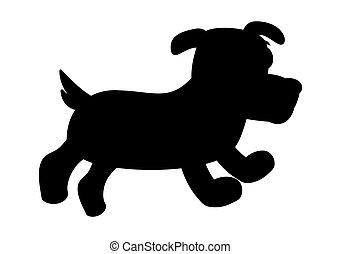 sprytny, pies, zewnątrz, cień, mały, czarnoskóry, pieszy