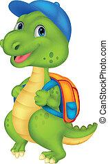 sprytny, plecak, dinozaur