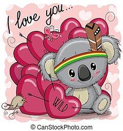 sprytny, plemienny, koala, rysunek, serca