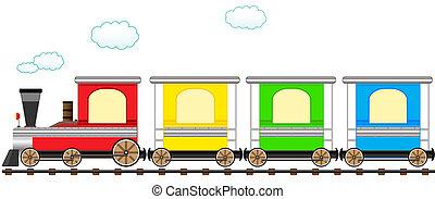 sprytny, pociąg, sztacheta, rysunek, barwny