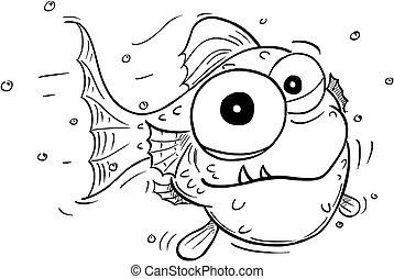 sprytny, pomylony, rysunek, fish