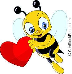 sprytny, pszczoła, valentine