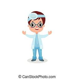 sprytny, reflektor, otolaryngologist, chłopiec, frontalny, doktor, ilustracja, wektor, profesjonalny, odzież, interpretacja, koźlę