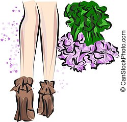 sprytny, rys, fason, dziedziniec, shoes., ręka, accessories., pociągnięty, nogi