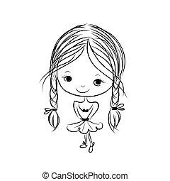 sprytny, rys, uśmiechanie się, projektować, dziewczyna, twój