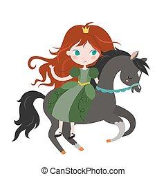 sprytny, rysunek, czarnoskóry, księżna, horse.