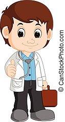 sprytny, rysunek, doktor