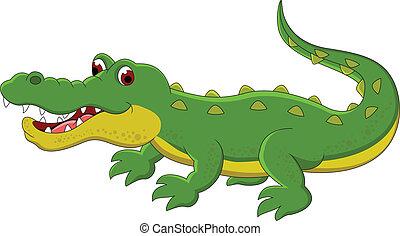 sprytny, rysunek, krokodyl