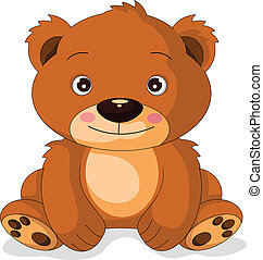 sprytny, rysunek, niedźwiedź