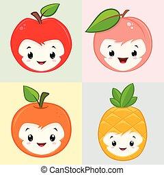 sprytny, rysunek, owoce