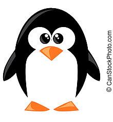 sprytny, rysunek, penguine