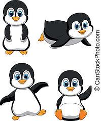 sprytny, rysunek, pingwin
