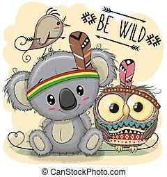 sprytny, rysunek, sowa, koala, plemienny