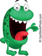 sprytny, rysunek, zielony potwór