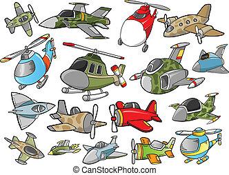 sprytny, samolot, wektor, projektować, komplet