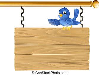 sprytny, si, wisząc, niebieski ptak, posiedzenie