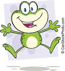 sprytny, skokowy, zielona żaba