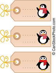 sprytny, skuwki, ), (, odizolowany, retro, białe boże narodzenie, pingwin
