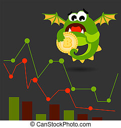 sprytny, styl, potwór, bitcoin, wektor, zielony, coin., rysunek, illustration.