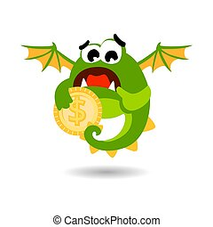 sprytny, styl, potwór, dolar, wektor, zielony, coin., rysunek, illustration.