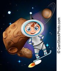 sprytny, surfing, gagat, asteroida, astronauta, deska, przód, rysunek
