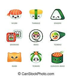 sprytny, sushi zasuwają, ikony