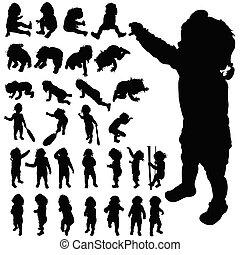 sprytny, sylwetka, wektor, przedstawianie, niemowlę, czarnoskóry