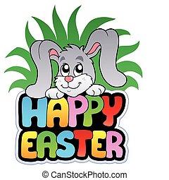 sprytny, szczęśliwa wielkanoc, królik, znak