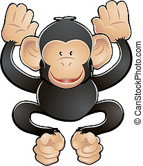 sprytny, szympans, ilustracja, wektor