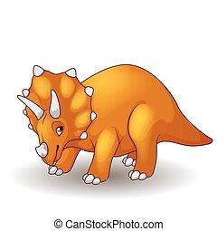 sprytny, triceratops, rysunek, odizolowany