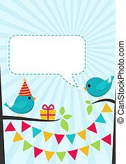 sprytny, urodziny, wektor, drzewa, partia, ptaszki, karta