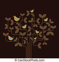 sprytny, wektor, drzewo, ptaszki