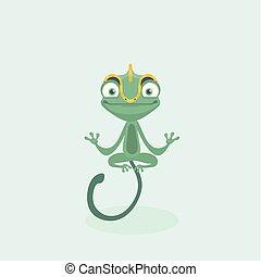 sprytny, wektor, illustration., chameleon.