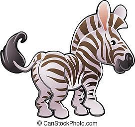 sprytny, zebra, ilustracja, wektor