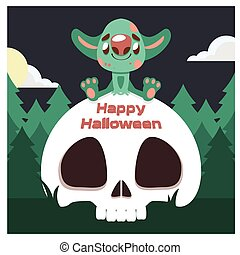 sprytny, zielony potwór, czaszka, powitanie
