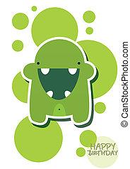 sprytny, zielony potwór, karta